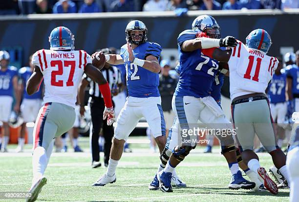 Paxton Lynch of the Memphis Tigers looks to throw downfield against the Mississippi Rebels on October 17 2015 at Liberty Bowl Memorial Stadium in...