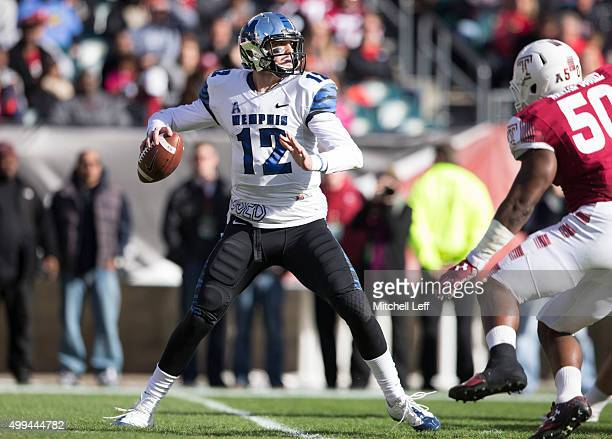 Paxton Lynch of the Memphis Tigers plays in the game against the Temple Owls on November 21 2015 at Lincoln Financial Field in Philadelphia...