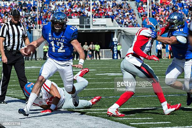 Paxton Lynch of the Memphis Tigers runs the ball against the Ole Miss Rebels at Liberty Bowl Memorial Stadium on October 17 2015 in Memphis Tennessee