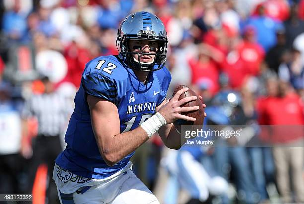 Paxton Lynch of the Memphis Tigers runs with the ball against the Mississippi Rebels on October 17 2015 at Liberty Bowl Memorial Stadium in Memphis...