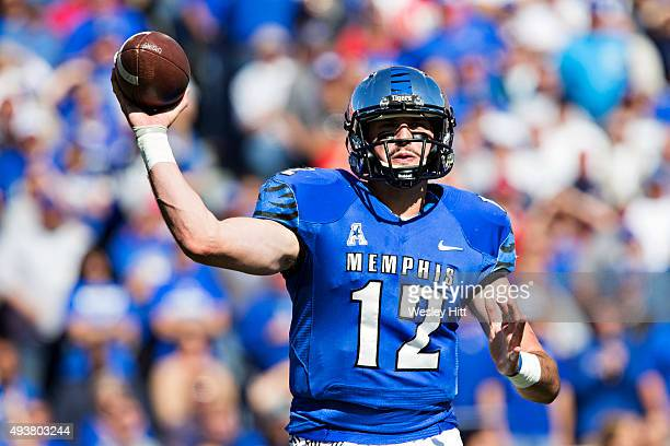 Paxton Lynch of the Memphis Tigers throws a pass during a game against the Ole Miss Rebels at Liberty Bowl Memorial Stadium on October 17 2015 in...