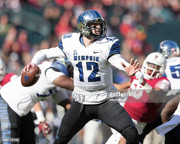 Paxton Lynch of the Memphis Tigers throws a pass in the first quarter against the Temple Owls on November 21 2015 at Lincoln Financial Field in...