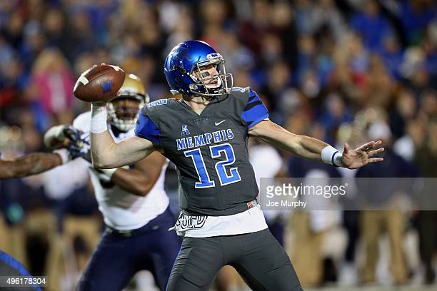 Paxton Lynch of the Memphis Tigers throws against the Navy Midshipmen on November 7 2015 at Liberty Bowl Memorial Stadium in Memphis Tennessee