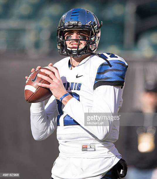 Paxton Lynch of the Memphis Tigers warms up prior to the game against the Temple Owls on November 21 2015 at Lincoln Financial Field in Philadelphia...