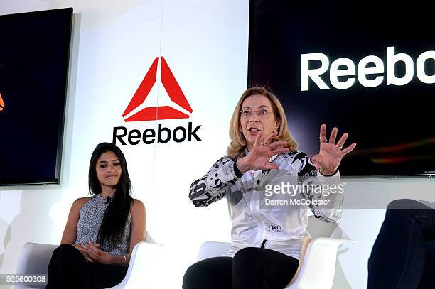 Payal Kadakia and Kathrine Switzer attend REEBOK #HonorYourDays Luncheon at REEBOK Headquarters on April 28 2016 in Canton Massachusetts