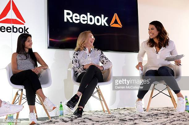 Payal Kadakia Kathrine Switzer and Jessica Mendoza attend REEBOK #HonorYourDays Luncheon at REEBOK Headquarters on April 28 2016 in Canton...