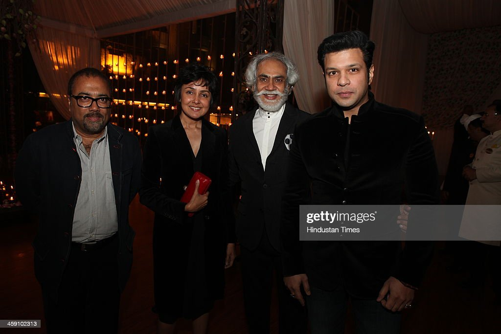 Payal, Sunil Sethi and Aman Ali Bangash at the launch party of Rohit Bal Luxury Weddings at Nandiya Gardens, ITC Maurya on December 18, 2013 in New Delhi, India.