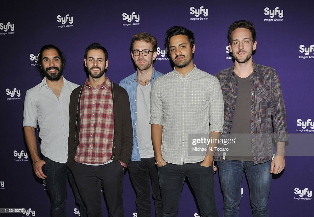 Payam Doostzaheh, Eric Cannata, Jacob Tilley, Sameer Gadhia and Francois Comtois of Young the Giant attend the Syfy 2012 Upfront event at the American Museum of Natural History on April 24, 2012 in New York City.