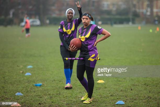Payers from the London Unspeakables quidditch team play during the Crumpet Cup quidditch tournament on Clapham Common on February 18 2017 in London...
