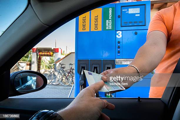 Paying for Gasoline Diesel Price at gas station