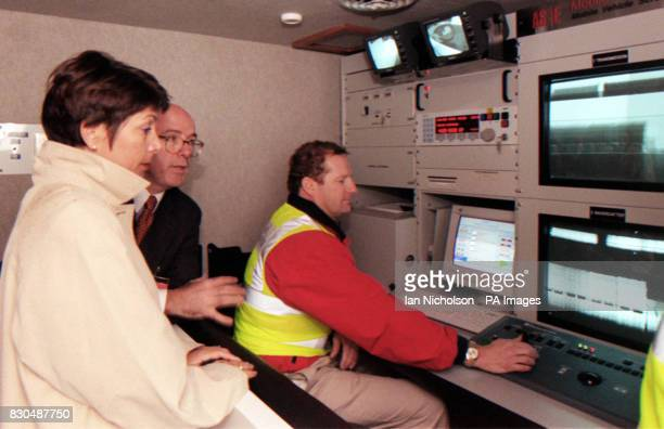 Paymaster General Dawn Primarolo and Ralph Sheridan president of AntiSmuggling Eastern region inside Britain's first large scale xray scanner which...