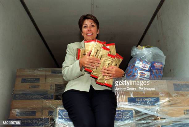 Paymaster General Dawn Primarolo in a container lorry full of confiscated smuggled tobacco in central London at the launch of a new advertising...