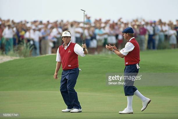 Payne Stewart and Mark Calcavecchia of the United States during the 29th Ryder Cup Matches on 27 September 1991 at The Ocean Course at Kiawah Island...
