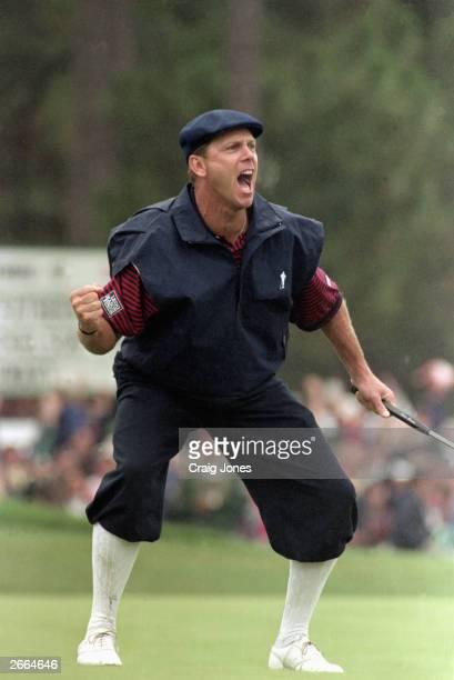 Payne Stewart celebrates after making a putt during the 1999 US Open at Pinehurst Golf Resort on June 19 1999 in Pinehurst North Carolina