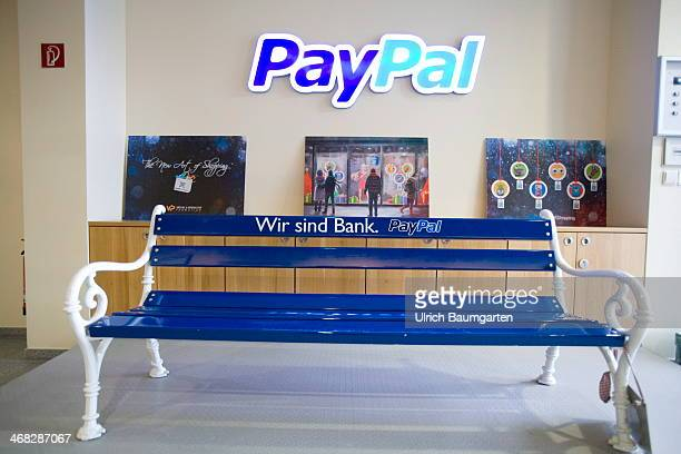 PayPal Germany in Berlin bench with logo PayPal on January 29 2014 in Berlin Germany