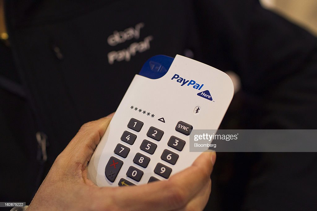 PayPal Inc.'s new chip-and-pin payment device for small businesses is arranged for a photograph at the Mobile World Congress in Barcelona, Spain, on Monday, Feb. 25, 2013. The Mobile World Congress, where 1,500 exhibitors converge to discuss the future of wireless communication, is a global showcase for the mobile technology industry and runs from Feb. 25 through Feb. 28. Photographer: Angel Navarrete/Bloomberg via Getty Images