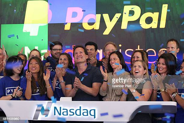 PayPal President and CEO Dan Schulman joins employees customers and Nasdaq employees while ringing the bell at Nasdaq this morning on July 20 2015 in...
