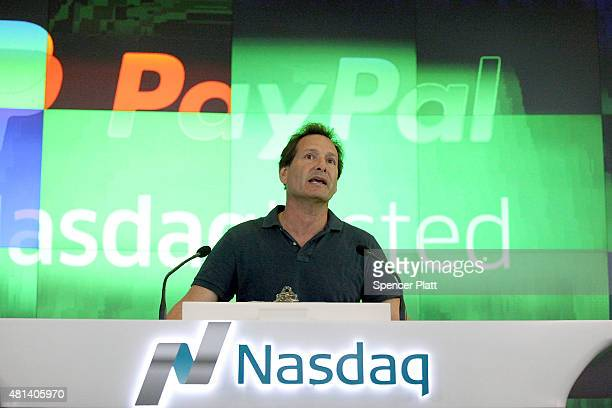 PayPal President and CEO Dan Schulman speaks before ringing the bell at Nasdaq this morning on July 20 2015 in New York City PayPal Holdings Inc...