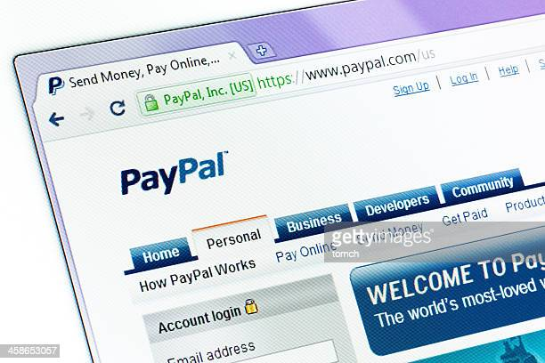 PayPal website in the browser window