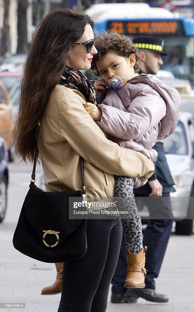 Paz Vega and daughter Ava Salazar is seen on December 26, 2012 in Madrid, Spain.
