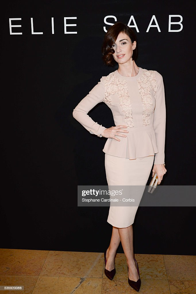 Paz Vega attends the Elie Saab show as part of Paris Fashion Week Haute Couture Spring/Summer 2014 , at Theatre National de Chaillot, in Paris.