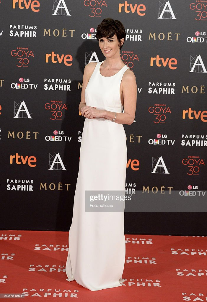 <a gi-track='captionPersonalityLinkClicked' href=/galleries/search?phrase=Paz+Vega&family=editorial&specificpeople=208840 ng-click='$event.stopPropagation()'>Paz Vega</a> attends the Goya Cinema Awards 2016 Ceremony at Madrid Marriott Auditorium on February 6, 2016 in Madrid, Spain.