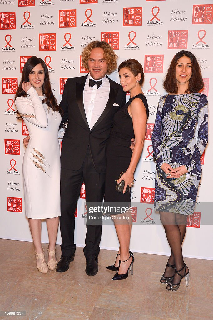 Paz Vega, Peter Dundas, Clotilde Courau and Olivia Magnani attend the Sidaction Gala Dinner 2013 at Pavillon d'Armenonville on January 24, 2013 in Paris, France.