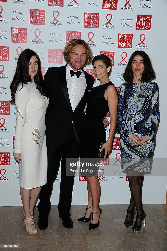Paz Vega, Peter Dundas, Clotilde Courau and Olivia Magnani pose as they arrive to attend the Sidaction Sidaction Gala Dinner 2013 at Pavillon d'Armenonville on January 24, 2013 in Paris, France.