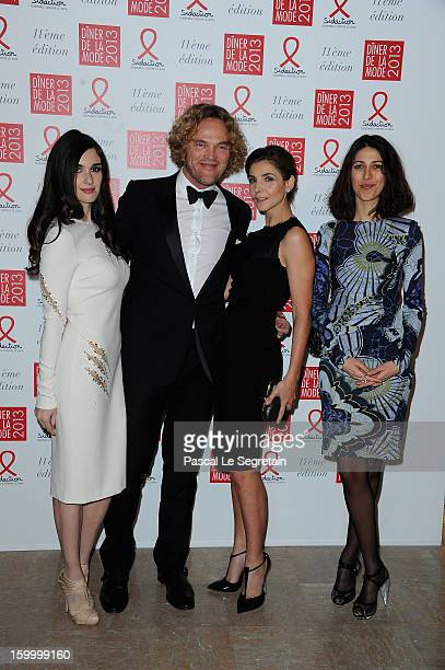 Paz Vega Peter Dundas Clotilde Courau and Olivia Magnani pose as they arrive to attend the Sidaction Sidaction Gala Dinner 2013 at Pavillon...