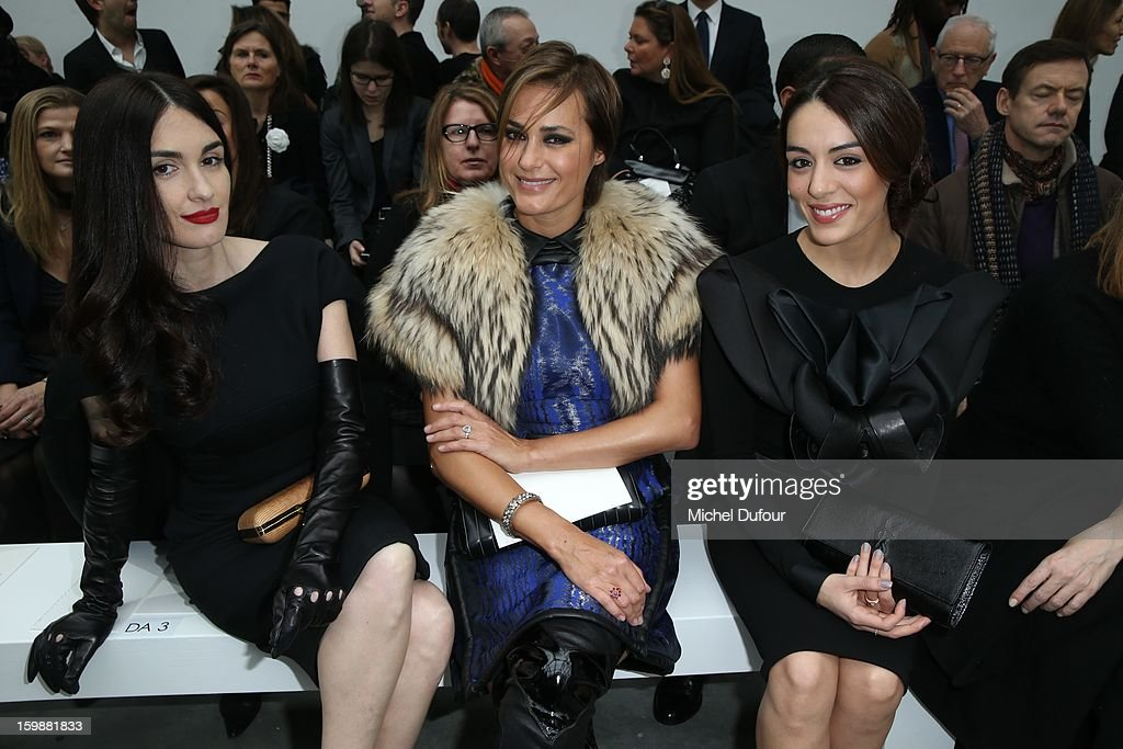 <a gi-track='captionPersonalityLinkClicked' href=/galleries/search?phrase=Paz+Vega&family=editorial&specificpeople=208840 ng-click='$event.stopPropagation()'>Paz Vega</a>, Yasmine LeBon and Sophia Essaidi attend the Stephane Rolland Spring/Summer 2013 Haute-Couture show as part of Paris Fashion Week at Palais De Tokyo on January 22, 2013 in Paris, France.