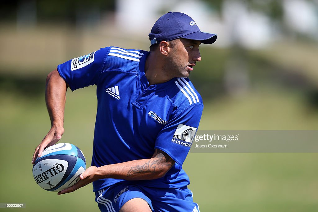 PBenji Marshall during a Blues Super Rugby training session at Unitec on January 28, 2014 in Auckland, New Zealand.