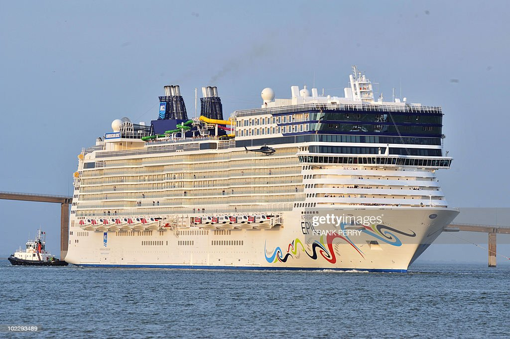 A pîcture taken on June 17 2010 shows the Norwegian Epic cruiser leaving the STX Europe shipyards in SaintNazaire western France to sail to Rotterdam...