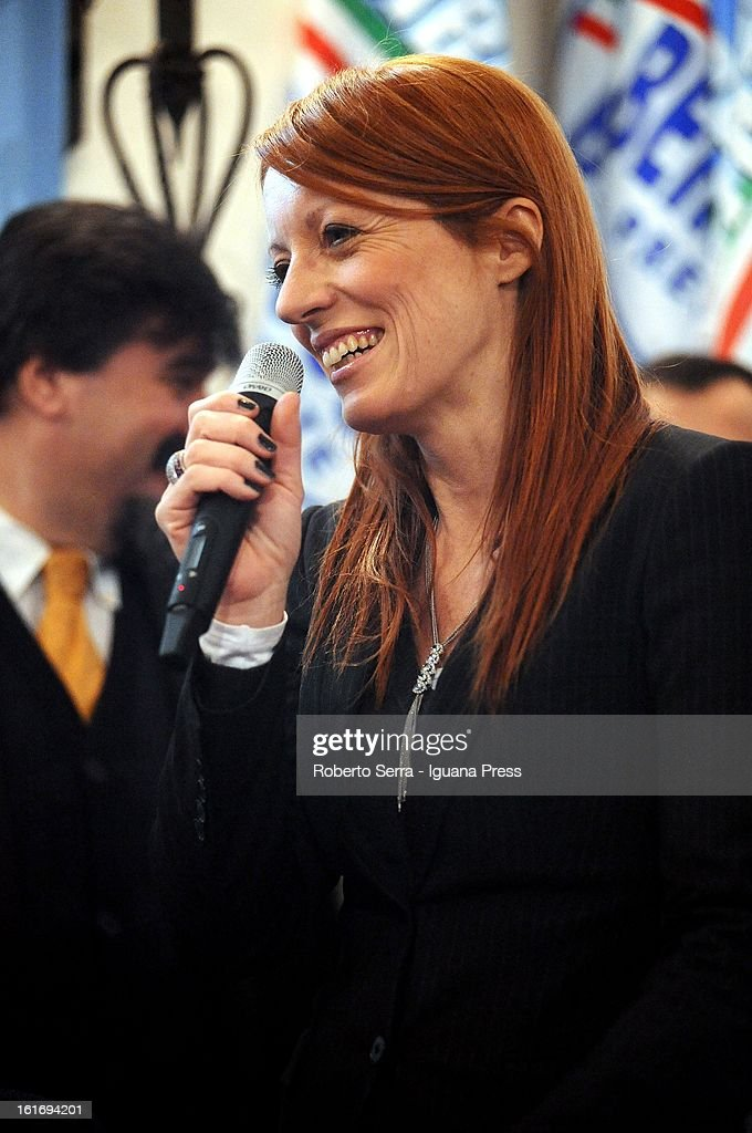 Pdl Parliamentary candidate and ex Italian Minister of Tourism, Michela Vittoria Brambilla speaks at a meeting held by National Secretary of PdL (The People of Freedom) Angelino Alfano at party headquarters on February 14, 2013 in Bologna, Italy.