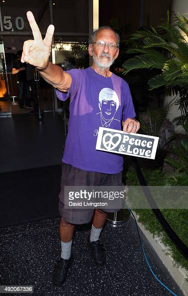 Peace activist Jerry Rubin attends the John Lennon 75th birthday celebration at his Hollywood Walk of Fame Star on October 9 2015 in Hollywood...