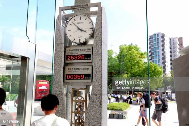 'Peace clock' monument is prior to be reset after North Korea's nuclear test at Hiroshima Peace Museum on September 3 2017 in Hiroshima Japan South...