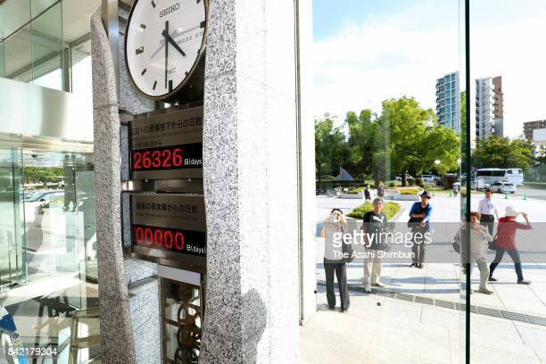 'Peace clock' monument is reset after North Korea's nuclear test at Hiroshima Peace Museum on September 3 2017 in Hiroshima Japan South Korea Japan...