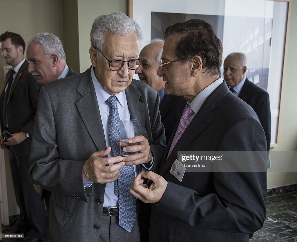 UN peace envoy <a gi-track='captionPersonalityLinkClicked' href=/galleries/search?phrase=Lakhdar+Brahimi&family=editorial&specificpeople=226950 ng-click='$event.stopPropagation()'>Lakhdar Brahimi</a> (L) and Lebanese Foreign Minister Adnan Mansour speak on September 26, 2012 in New York City. The opening of the 67th assembly session is on Tuesday, September 25, and is to be attended by 123 Presidents and Prime Ministers and scores of Foreign Ministers.
