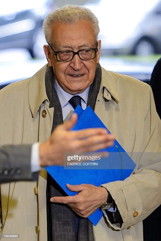 UN peace envoy Lakhdar Brahimi arrives on January 11, 2013 for a meeting at the United Nations office in Geneva. Brahimi is to meet with Russian Deputy Foreign Minister Mikhail Bogdanov and US Undersecretary of State William Burns for discuss ways of ending the 21-month conflict in Syria.