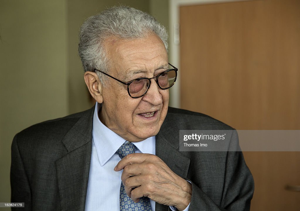 UN peace envoy Lakhdar Brahimi arrives on September 26, 2012 in New York City. The opening of the 67th assembly session is on Tuesday, September 25, and is to be attended by 123 Presidents and Prime Ministers and scores of Foreign Ministers.