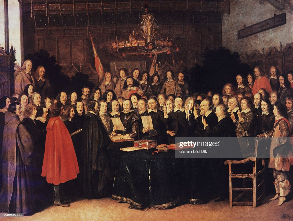 The swearing of the oath of ratification of the treaty of Münster on 24101648 painting by Gerard Ter Borch