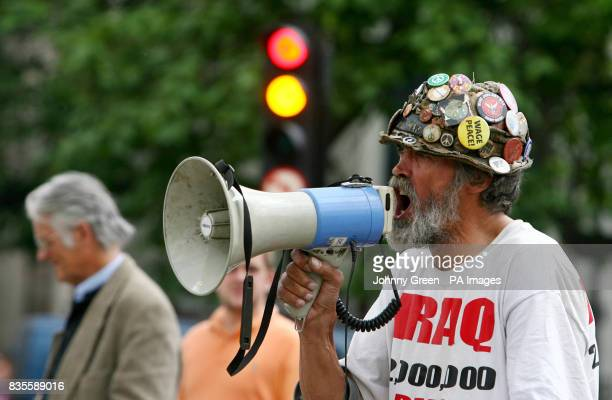 Peace protester Brian Haw in Parliament Square London as demonstrators react to the statement Prime Minister Gordon Brown made earlier regarding the...