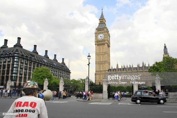 Peace protestor Brian Haw in Parliament Square London as demonstrators react to the statement Prime Minister Gordon Brown made earlier regarding the...