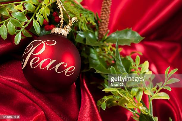 Peace Red Christmas ornaments with garland on satin