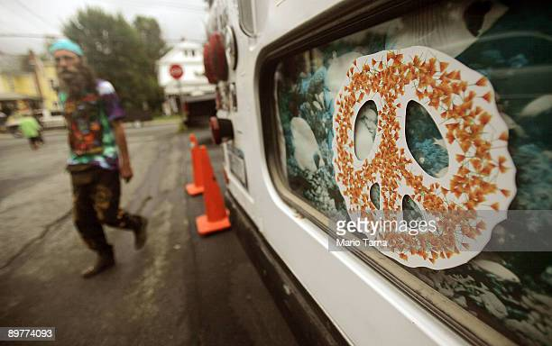 A peace sign is seen as the 40th anniversary of the Woodstock music festival approaches August 13 2009 in Woodstock New York On August 1517 in 1969...