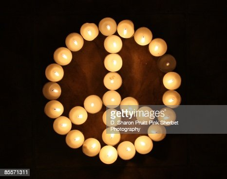 Peace Symbol Made From Lit Candles Stock Photo | Getty Images