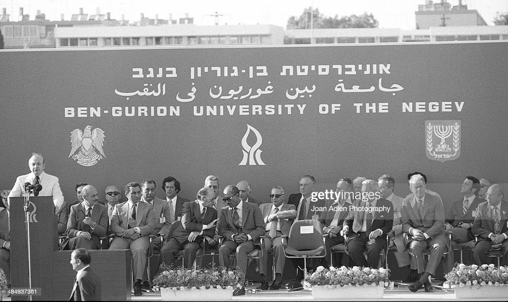 Peace talks were held at Ben-Gurion University of the Negev, led by Prime Minister of Israel <a gi-track='captionPersonalityLinkClicked' href=/galleries/search?phrase=Menachem+Begin&family=editorial&specificpeople=93758 ng-click='$event.stopPropagation()'>Menachem Begin</a> and Egyptian President Muhammad Anwar El Sadat, who was accompanied by Egyptian Vice-President <a gi-track='captionPersonalityLinkClicked' href=/galleries/search?phrase=Hosni+Mubarak&family=editorial&specificpeople=201752 ng-click='$event.stopPropagation()'>Hosni Mubarak</a> on May 28, 1979 in Beersheba, Israel.