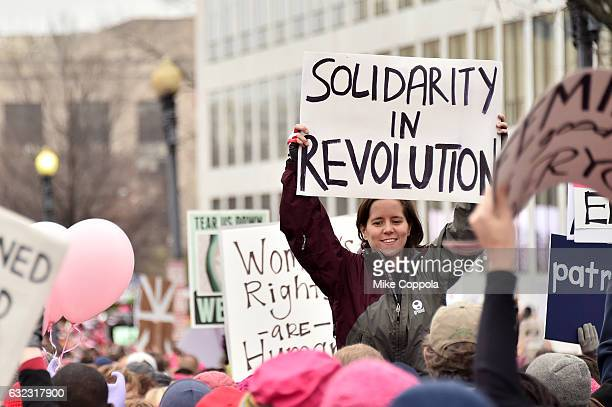 Peaceful protestors march during the Women's March On Washington on January 21 2017 in Washington DC