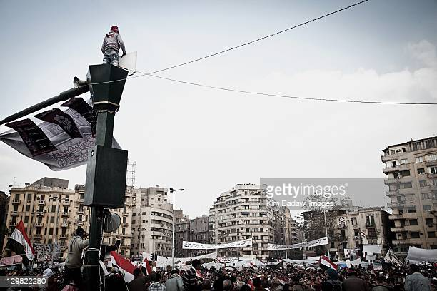 Peaceful protests in Tahrir Square on February 9 2011 in Tahrir Square in downtown Cairo Egypt