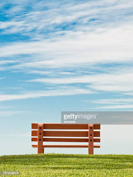 Peaceful Scene with Bench, Green Grass, Blue Sky