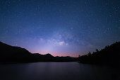 Peaceful starry night sky on the river landscape background : Thailand